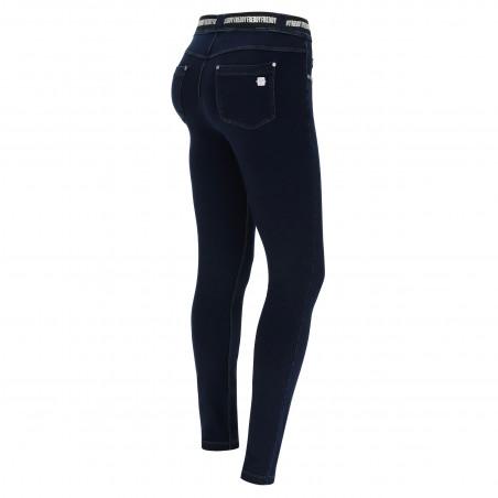 N.O.W. Pants - Mid Waist Skinny - J0B - Blue Denim - Blue Seam
