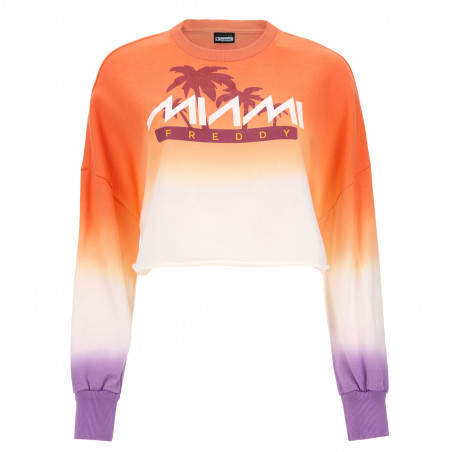 Oversize Cropped Sweatshirt - Freddy Miami Print - A77E