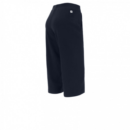 Wide Leg Cropped Pants With Inside Pockets - B94 - Dark Blue