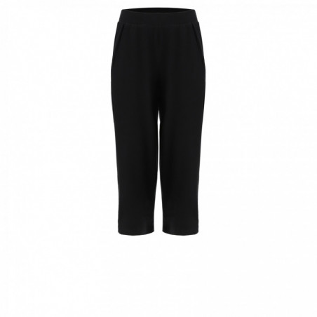 Wide Leg Cropped Pants With Inside Pockets - N0 - Black