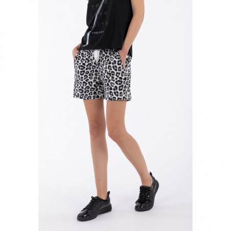 Stretch leopard print shorts - NG9W - White Animalier