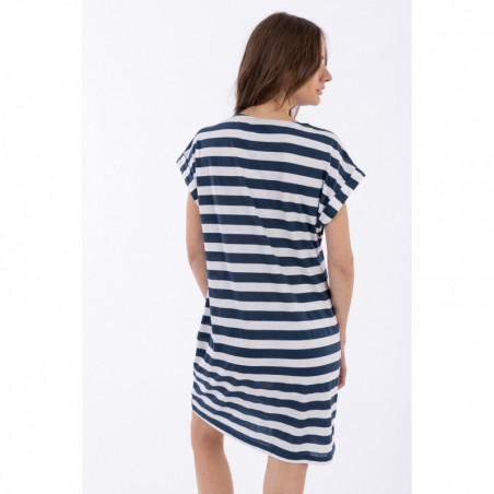 Striped Jersey Jacquard Mariniere Dress With a Gold Print - B108W - Blue/White Stripes