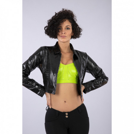 Black Cropped Crocodile Effect Faux Patent Leather Jacket - N - Black