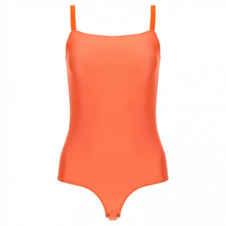 Jersey Bodysuit With a Square Neckline and Stretch Straps - A77 - Nasturtium