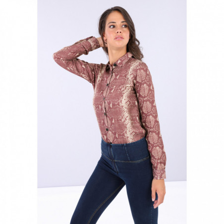 Bodysuit With a Snake Print Collared Shirt - ANI6N - Allover Python