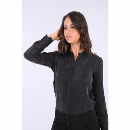 Black Bodysuit With a Collared Shirt - N - Black