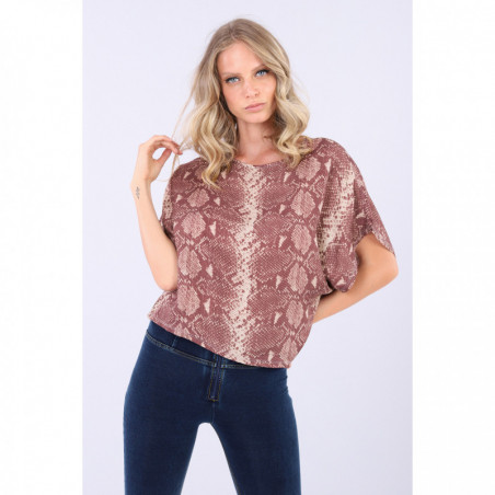 Boxy Snake Print Shirt With Short Kimono Sleeves - ANI6N - Allover Python