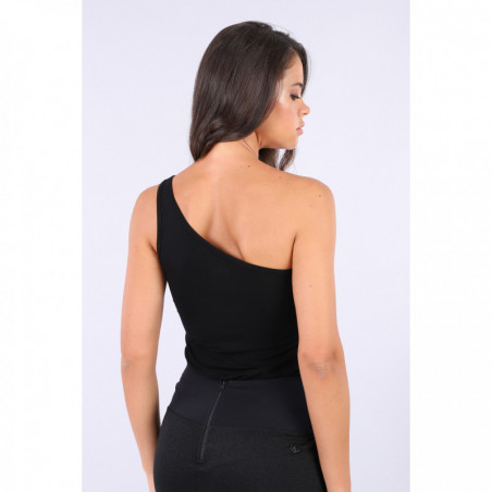 Black Slim Fit Single-Shoulder Top - N - Black