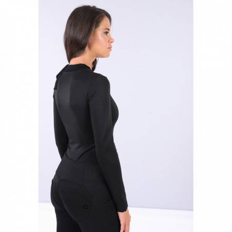 Black Curve Hugging Long-Sleeve Bodysuit With a Bow - NL - Black Lurex