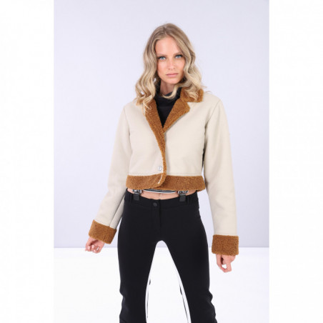 Cropped Faux Shearling and Eco-Napa Jacket - Z100M - Ivory-Brown