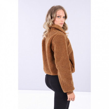 Short Faux Shearling Jacket - ME32 - Teddy Brown