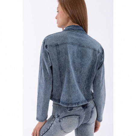 Boxy Jacket in Acid Washed Denim - J19B - Washed Denim - Blue Seam
