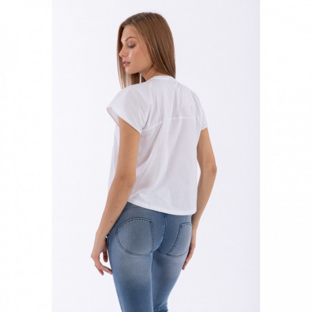 Cap Sleeve T-Shirt With Studs - W - White