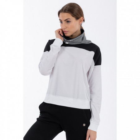 Women's High-Neck Yoga Sweatshirt -  Made in Italy - WN - White-Black