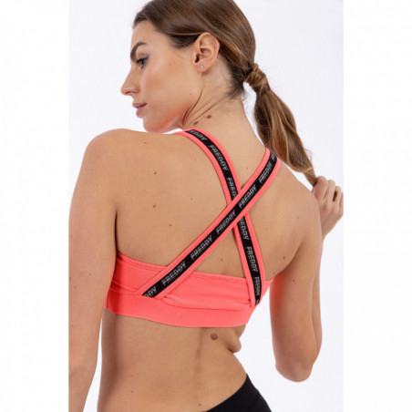 Sports Bra With a Freddy Print and Crossed Straps - Coral Fluo
