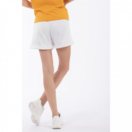 Slightly Rounded Shorts With Crystal Stripes - W - White