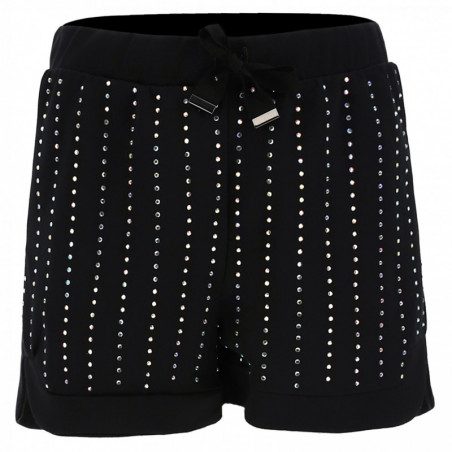 Slightly Rounded Shorts With Crystal Stripes - N - Black