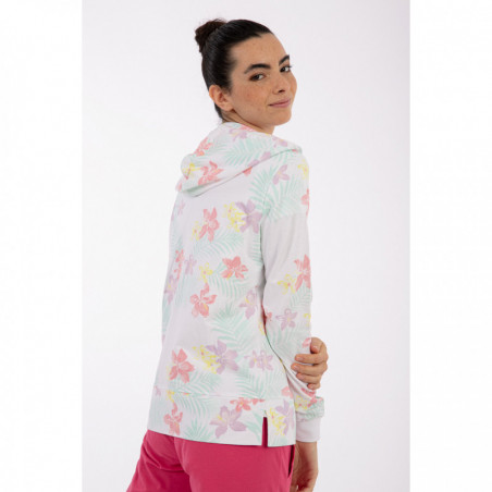 Tropical Motif Hoodie With a Glitter Print - FLO6 - Flower Multicolor