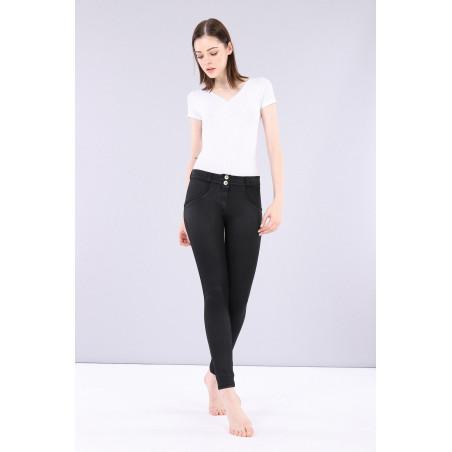 WR.UP® Regular Waist Super Skinny - Coated Denim Effect - N - Black