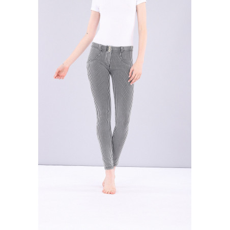 WR.UP® Denim Effect Jeggins - Regular Waist Skinny - Made in Italy - J7N - Striped Black & White