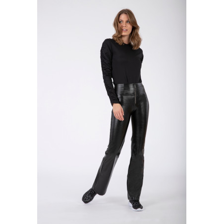 WR.UP® Ecoleather - High Waist Flare - Pressed - N - Black