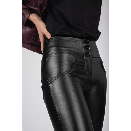 WR.UP® Ecoleather - Mid Waist Skinny - Metallic Finish - N - Black