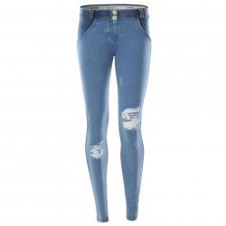WR.UP REGULAR WAIST SKINNY - DENIM EFFECT WITH WHITE WHISKERING - J36W