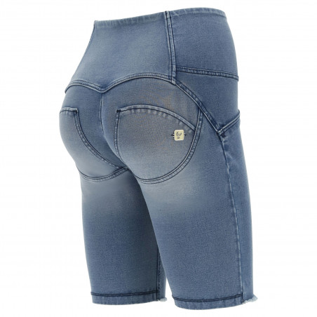 WR.UP® Denim Effect - High Waist Biker Shorts - Frayed Hem - J4B - Clear Denim - Blue Seam