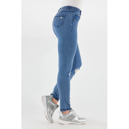 Freddy Black - Skinny Ripped Jeans in Stretch Denim - J4B - Clear Denim - Blue Seams