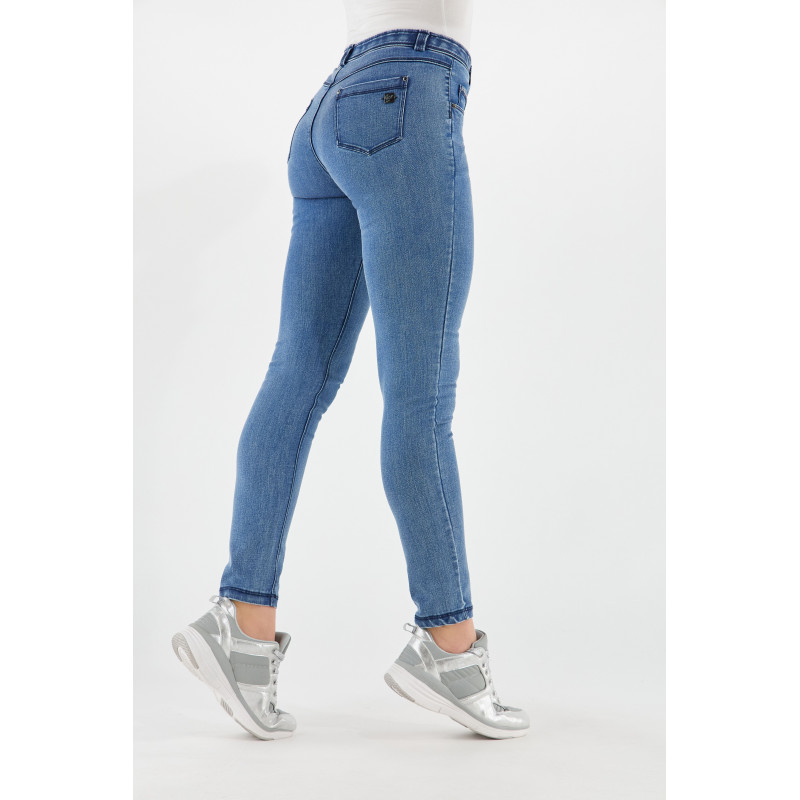 WR.UP® DENIM EFFECT JEGGINS - REGULAR WAIST SKINNY - MADE IN ITALY - J0B - STRIPED WHITE & BLUE