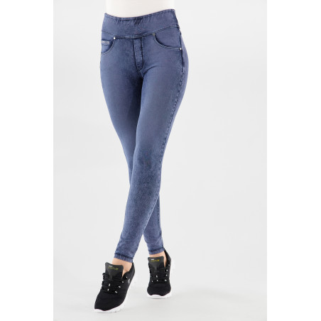 N.O.W® Pants - Mid Waist Skinny - Foldable Waist - J53B - Washed Blue Denim