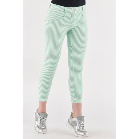 WR.UP® Regular Waist Super Skinny - 7/8 Lenght - Striped Stretch Jersey - D50W - Green Ash & White Stripes