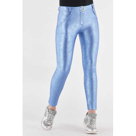 WR.UP® Ecoleather - Regular Waist Skinny - Vintage-Effect  - S21 - Metallic Blue