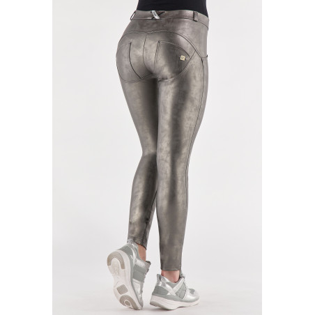WR.UP® Ecoleather - Regular Waist Skinny - Vintage-Effect  - GUN3 - Lead Metallic