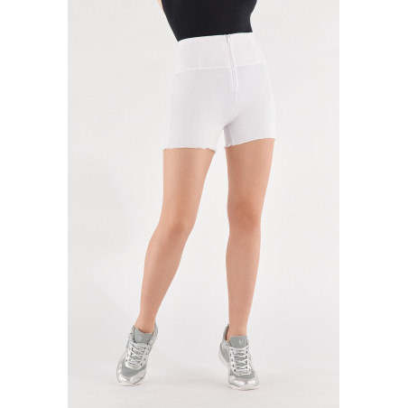 WR.UP® Denim Effect - High Waist Shorts - Frayed Hemline - W - White