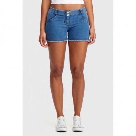 WR.UP® Denim Effect - Regular Waist Shorts - Frayed Hem - J4Y - Clear Denim - Yellow Seam