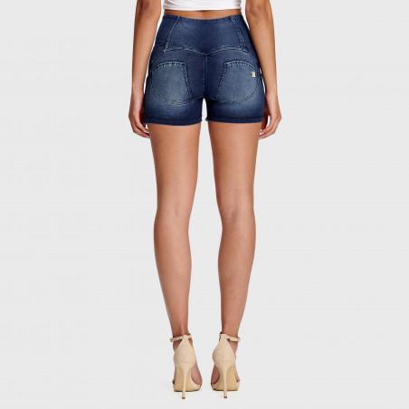 WR.UP® Denim Effect - High Waist Shorts - Frayed Hem - J0B - Dark Denim - Blue Seam