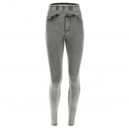 N.O.W® Pants - Mid Waist Skinny - Foldable Waist - J3Y -Grey Denim - Yellow Seam
