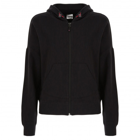Short Sweatshirt - Hood & Zip - N - Black