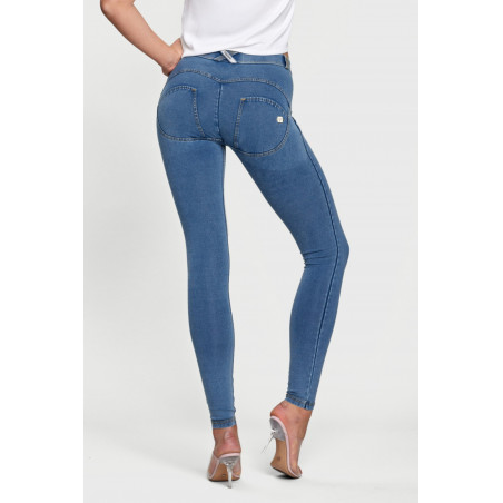 WR.UP® Denim Effect - Regular Waist Super Skinny - J4Y - Clear Denim - Yellow Seam