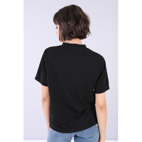 Turtleneck T-Shirt - N - Shiny Black
