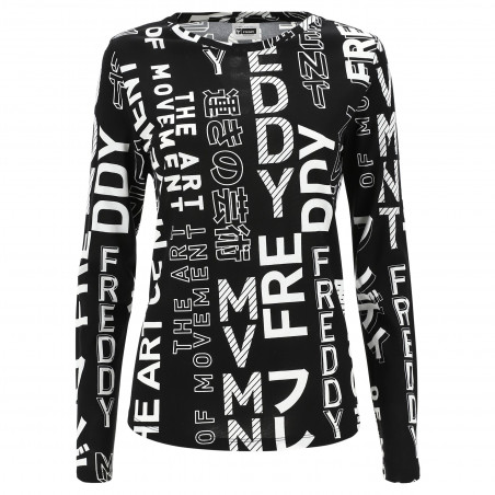 Long Sleeved T-Shirt With All-Over Printing - NW - Black