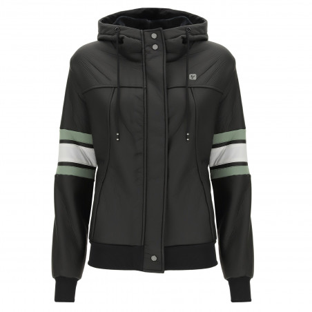 Water Resistant Faux Leather Jacket - N - Black