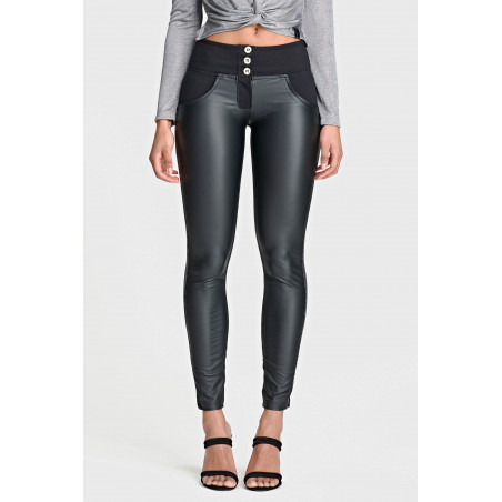 WR.UP® Mid Waist Skinny - Ecoleather Detailed With Glitter Band - N - Black